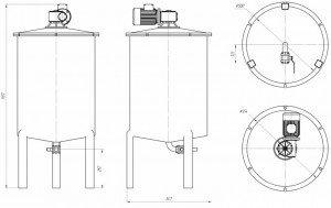 Графический рисунок емкости с мешалкой