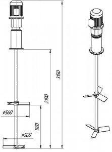 Графическое изображение мешалки МДЛТ-2х560