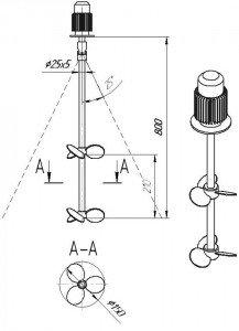 Мешалка пропеллерная МДПТ-2х150