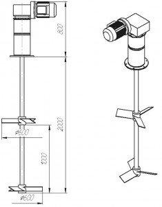 Мешалка лопастного типа  МДЛТ-2х600