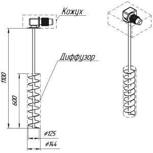 Графическое изображение мешалки МДШТ-125х600