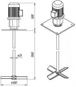 мешалка лопастная МДЛТ-350
