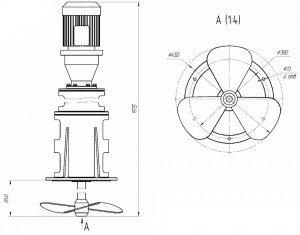 Габаритный рисунок мешалки лопастного типа МДЛТ-450