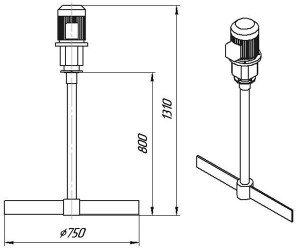 Графическое изображение мешалки МДЛТ-750