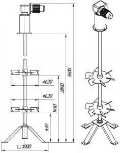 Графическое изображение мешалки МДТТ-2х630